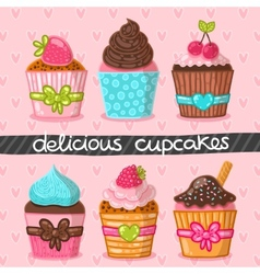Muffin set Cupcake set vector image
