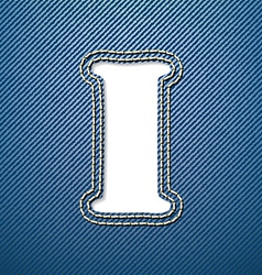 Denim jeans letter i vector
