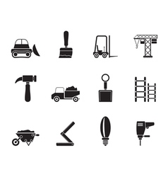 Silhouette Building and Construction equipment vector image