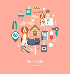 Pet care icon concept flat design vector
