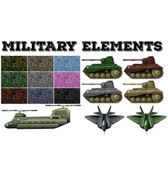 Military theme with tiles and tanks vector