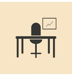 Flat in black and white table chair workplace vector