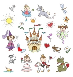 Happy little princesses sketches vector