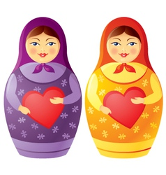 Matryoshka doll holding a heart vector