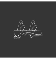 Tourists sitting in boat drawn in chalk icon vector