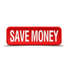 Save money red 3d square button isolated on white vector