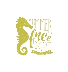 Summer Holydays Vintage Emblem With Seahorse vector image