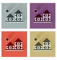 Concept flat icons with long shadow money house vector