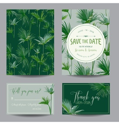Tropical palms leaves wedding invitation card vector