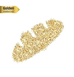Gold glitter icon of bread isolated on vector