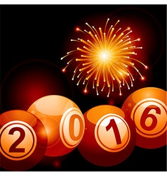 Bingo lottery balls 2016 and fireworks vector