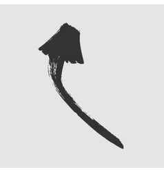 Black painted arrow showing up on a white vector