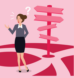 business woman confused making decision direction vector image