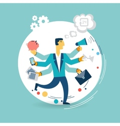 Businessman with many arms does a lot of work vector image
