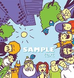 Cartoon people looking down vector