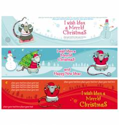 christmas banners with santa rats vector image vector image