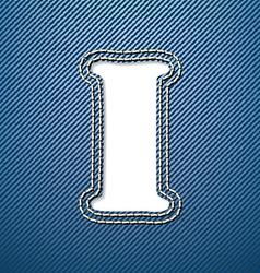 Denim jeans letter I vector image