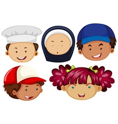 Different people with happy faces vector image vector image