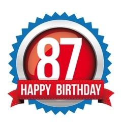Eighty seven years happy birthday badge ribbon vector