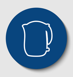 Electric kettle sign white contour icon vector