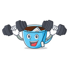 Fitness tea cup character cartoon vector