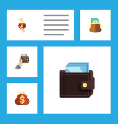 flat icon wallet set of purse currency saving vector image vector image