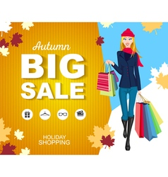 Flat style poster big sale shopping woman vector