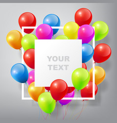 flying realistic glossy colorful balloons vector image