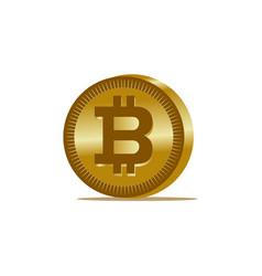 Gold bitcoin coin icon vector