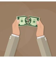 Hands tearing apart money bill in half vector