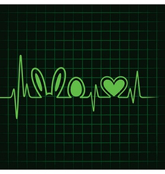 Heartbeat make easter symbol and heart stock vect vector image vector image