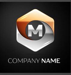 Letter m logo symbol in the colorful hexagonal on vector