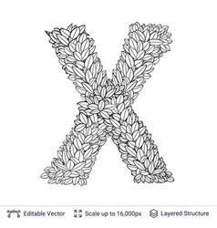 Letter x symbol of white leaves vector
