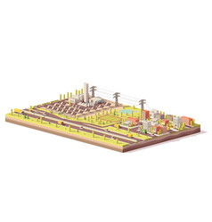Low poly solar power plant and city vector
