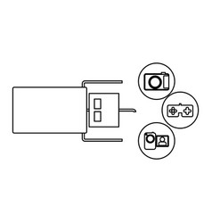 Pen drive hosting data center icon vector
