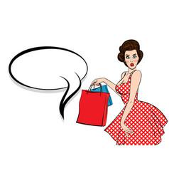 Pop art brunette woman hold bag vector