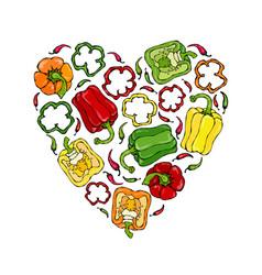 Red orange yellow green bell peper heart shape vector