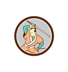 Samurai warrior katana sword circle cartoon vector