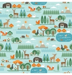 Seamless pattern with forest flora and vector