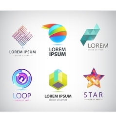 set of abstract colorful logos icons vector image