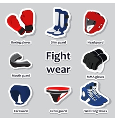 Set of sport equipment for martial arts vector