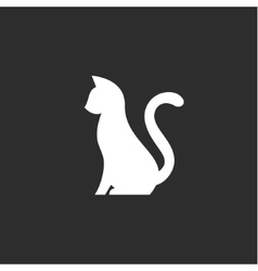 Silhouette of pet cat with a tail up abstract vector image vector image