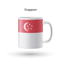 Singapore flag souvenir mug on white background vector