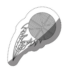 sticker grayscale contour with olympic flame with vector image vector image