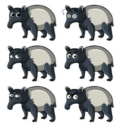 Tapir with different emotions vector