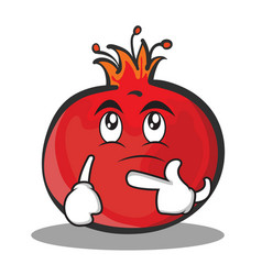 thinking face pomegranate cartoon character style vector image vector image