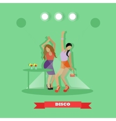 Two sexy girls dancing around table in night club vector