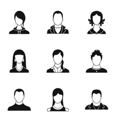 Types of avatar icons set simple style vector image vector image