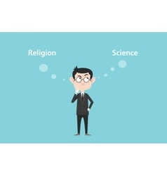 Religion or science concept with businessman vector