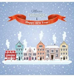 Christmas winter city street vector